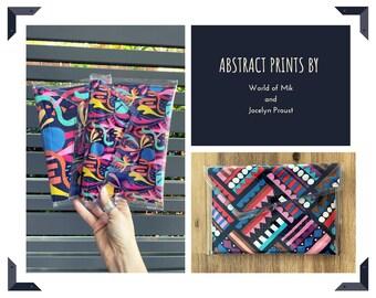 PVC fabric clutch abstract print