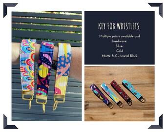 Key Fob Wristlet | Keyring | Key chain | PASTEL | SKULLS | Masi | Tapa | Pastel Digital fabric print
