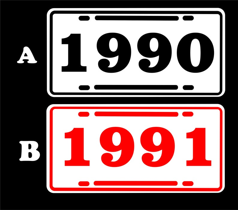 1990 91 92 93 94 95 96 97 98 99 Year license plate,5 colors Ford Chevrolet Plymouth,Mopar,Pontiac Cadillac Garage Decor Made in USA Dodge