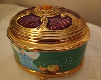 Fabrege Imperial Cinderella Musical Trinket Box,  Goldplated Handpainted Ceramic, Franklin Mint, 1970s