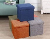 Ottoman Bench Container Organizer with Cushion Seat Lid,Foldable Storage Bins Box Cube,Multi Colour