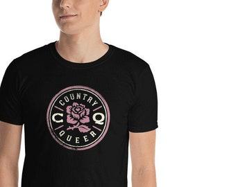 CQ Distressed Logo Tee, Rose and Cream