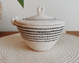 Rope Basket with Lid | Boho Home Decor | Farmhouse Basket | Basket for Shelf | Hygge Home | Cozy Home Accents