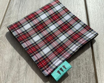 EDC Plaid Hank Red Black Off White Plaid Handkerchief Father/'s Day Gift Men/'s Handkerchief Gift for Him