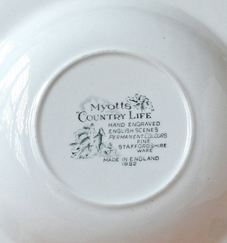 Vintage Myotts Soup Plate with cracked glaze Country Life pink pattern Hunting Scene