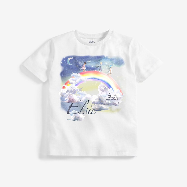 Personalised tee shirt Organic Cotton Tee Shirt Toddler tee shirt Rainbow Girls Tee Shirt Fairy tee shirt