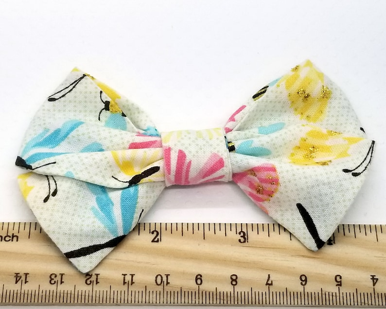 Blue and Yellow Floral School Girl Fabric Hair Bow