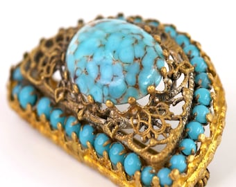 Victorian or Czech Faux Turquoise Gold Tone Brooch (377) with Trombone Clasp