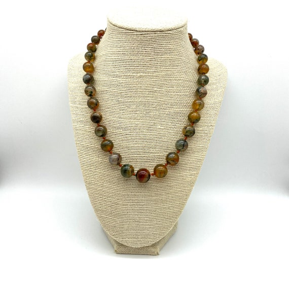 Moss Agate 1940's Graduated Hand Knotted Necklace
