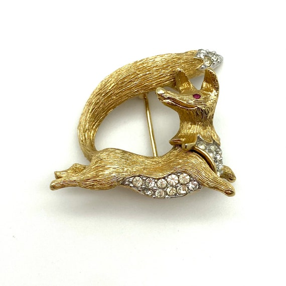 RARE Attwood and Sawyer 1960/'s Gold Plated Leaf Brooch with Crystal Midrib