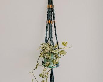 Blue Handmade Macrame Plant Hanger with Beads ~ Macrame Plant Holder ~ Custom Macrame Plant Hanger