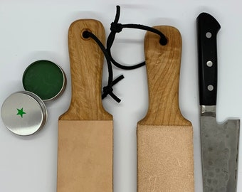 """18"""" Leather knife strop, double sided, for kitchen, chef knives, razors"""