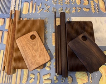 Pasta board set, 6pc, Walnut or Cherry, optional brass ferro