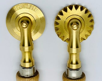 Brass pasta cutter, pastry wheel, fluted and smooth