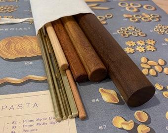 Pasta rolling pins, mini mattarelli, brass ferretto, 9pc