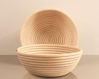 """2 European banneton, bread proofing baskets, natural rattan, 9.2"""" round"""