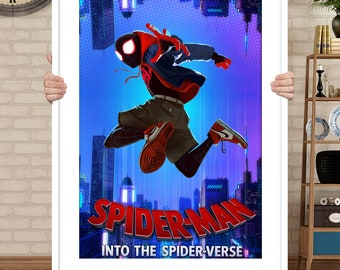 Spider Man Into the Spider Verse Movie Art Canvas Poster 12x18 24x36 inch