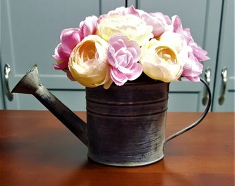 Sterling Silver 3D Plant Watering Can With Decorative Flowers Charm
