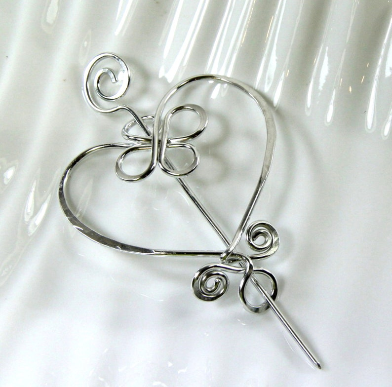 Aluminum Shawl Heart Pin Brooch Scarf and Sweater Pin Celtic Inspired