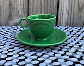 Fiestaware Vintage Medium Green Teacup (w rings) and Saucer