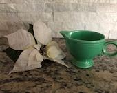 Vintage Fiestaware Original Green Ring-Handled Creamer w Quality Control Number