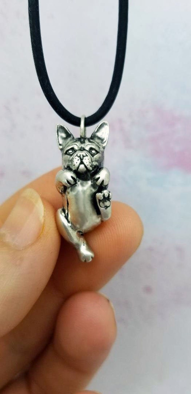 Made in USA Sterling Silver French Bulldog Pendant Necklace Gift- 1 inch tall 100/% recycled metal 3d sculpted
