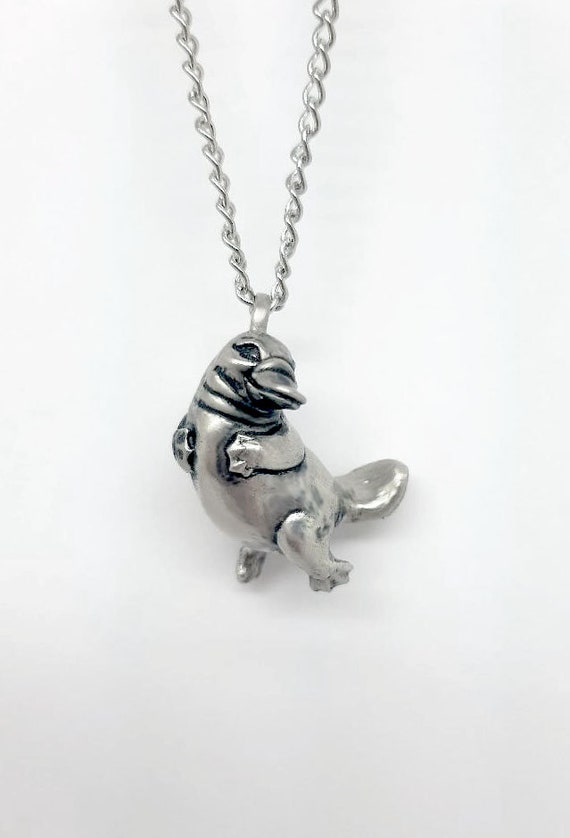 Benefits Animal Conservation White Bronze 3d Sculpted Made in USA Platypus Pendant Necklace 100/% Recycled Materials