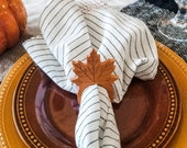 Solid Cherry Autumn Maple Leaf Napkin Rings (Set of 4), Wooden Napkin Rings, Wooden Fall Decor, Fall Wedding Leaf Napkin Rings