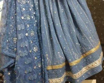 Gray Thread Embroidered Lehenga Choli Dupatta Custom Stiched Readymade Chikan Lengha Wedding wear Designer Wedding Bridal lehenga choli suit