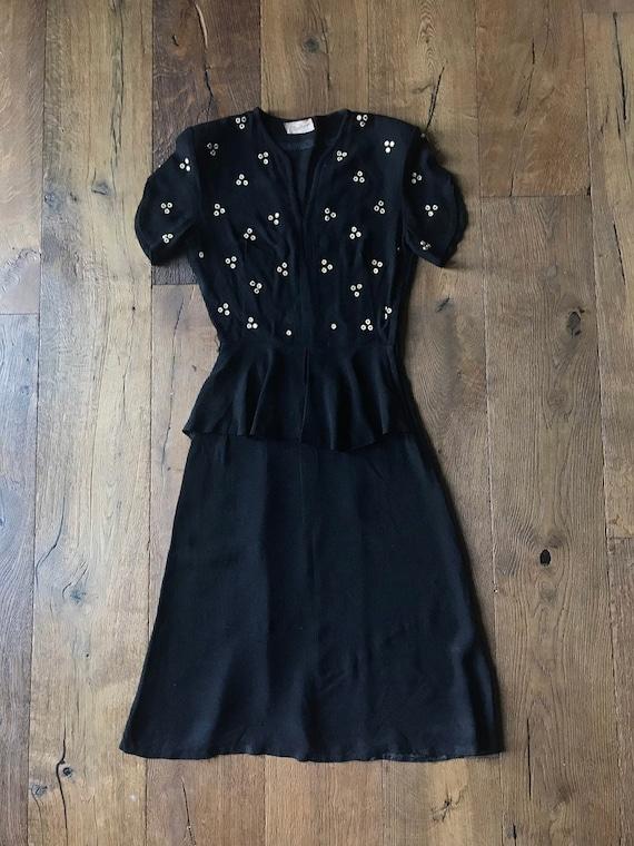Vintage 1940s 40's Rayon Crepe Dress XS