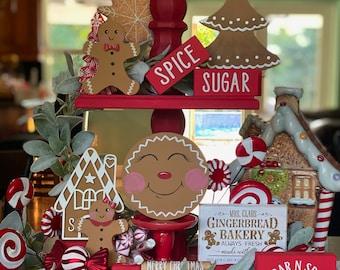 Christmas Tiered Tray, Christmas Tray Decor, Gingerbread Tiered Tray, Wood Gingerbread, Winter Tiered Tray Decor, Christmas Tray Fillers