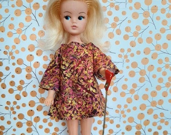 60s style floral mini dress for Sindy, Fleur and friends.