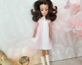 A-line pink and white monotone dress for Sindy and friends
