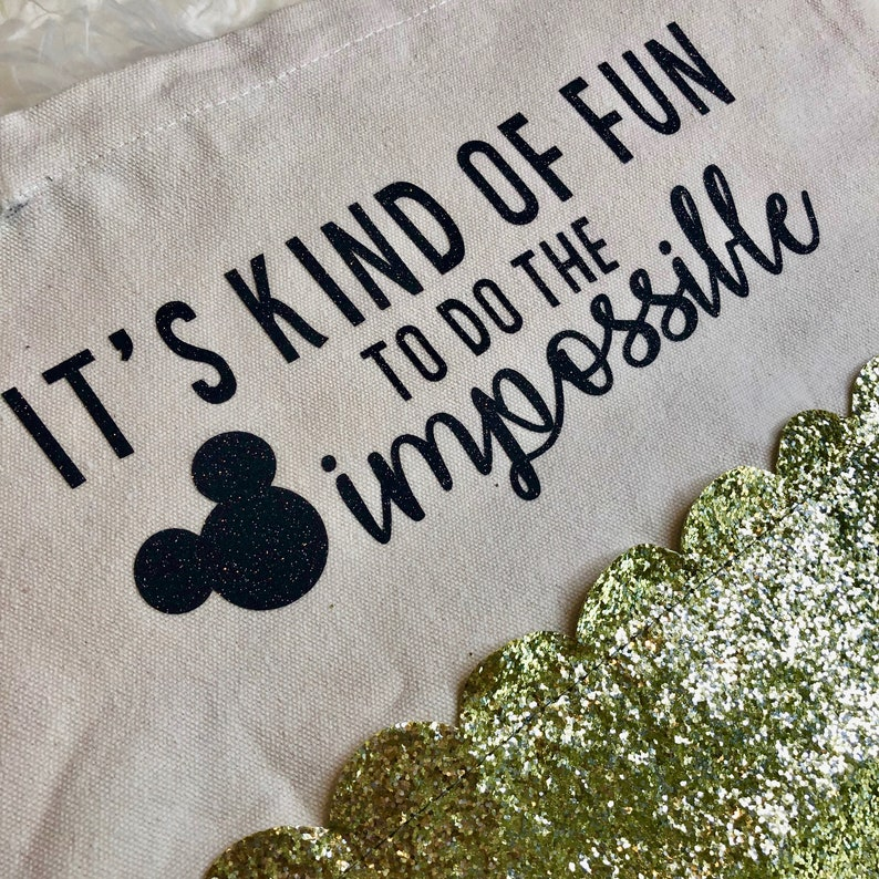 It/'s Kind of Fun to do the Impossible Walt Disney Inspired Quote Canvas Tote with Gold Glitter Edging