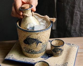 Vintage Sake Set Japanese Style Hand-Painted Ceramic Sake Cup, Sake Bottle, Ceramic Sake Bottle, Handmade Sake Set