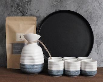 Vintage Sake Set, Japanese Sake Set, Ceramic Sake Cup Set, Sake Bottle with Sake Warmer, Ceramic Sake Bottle, Handmade Sake Set, Rice Wine