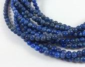 "Lapis Lazuli 4mm round beads, 15"" strand, approximately 90 beads"