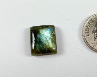Labradorite rectangular cabochon, 10.6x12.5mm
