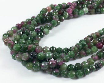 """Ruby in zoisite 6mm faceted round beads, 15-16"""" strand, approximately 70 beads"""