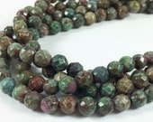 "Fancy jasper 8mm faceted round beads, 16"" strand, approximately 54 beads"