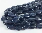 "Dumortierite puff teardrop beads, 14x18mm, 15-16"" strand, 22 beads"