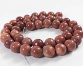 """Red malachite 10mm round beads, 16"""" strand, 42 beads"""