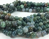 "Moss agate 10mm round beads, 15-16"" strand, approximately 40 beads"