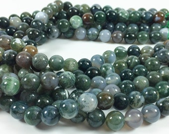 """Moss agate 10mm round beads, 15-16"""" strand, approximately 40 beads"""