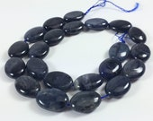 "Dumortierite puff oval beads, 14x18mm, 16"" strand, 22 beads"