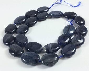 "Dumortierite puff oval beads, 14x18mm, 16"" strand, 22 beads"