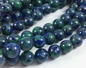 "Azurite malachite 10mm round beads, 15-16"" strand, approximately 40 beads"
