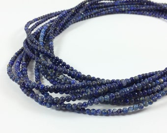 """Lapis Lazuli 3mm round-ish beads, 15-16"""" strand, approximately 150 beads"""