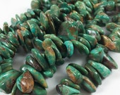 "Turquoise nuggets, top-drilled tumbled chips, GRADUATED STRAND 10-21mm, 16"" strand, blue-green with brown"