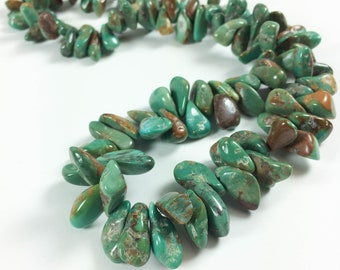 """Turquoise nuggets, top-drilled tumbled chips (almost briolettes), 12-16mm average, 16"""" strand"""